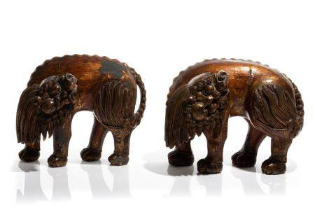 PAIR OF CHINESE GILT & LACQUERED WOOD LIONS