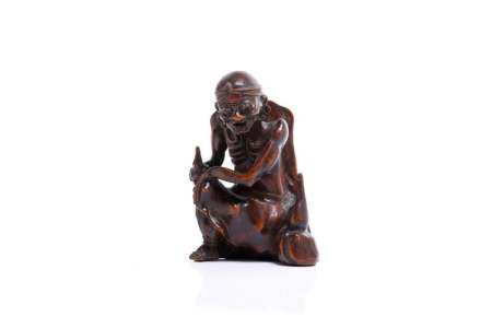 CHINESE WOOD CARVED DAMO FIGURE