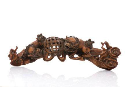 CHINESE BOXWOOD CARVED RUYI SCEPTER