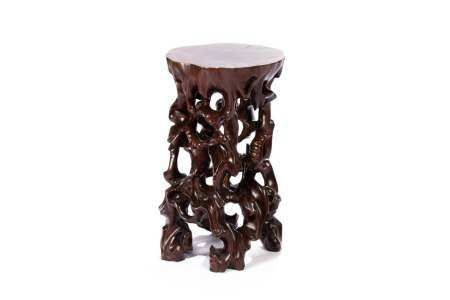 CHINESE NATURAL TREE FORM HARDWOOD PEDESTAL STAND