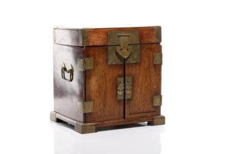 LARGE CHINESE HUALI MIRROR BOX