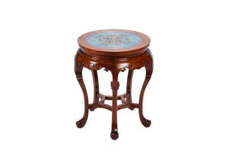 CHINESE HARDWOOD SIDE TABLE WITH CLOISONNE TOP