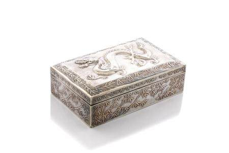 CHINESE EXPORT SILVER BOX WITH DRAGON