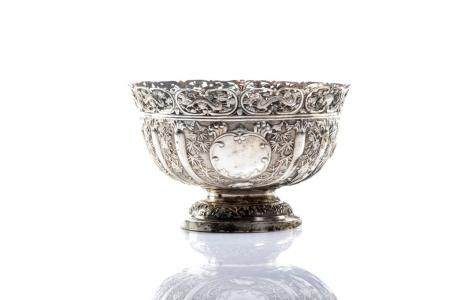 CHINESE EXPORT SILVER FOOTED BOWL