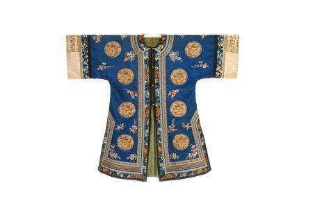CHINESE SILK EMBROIDERED BLUE GROUND LADY