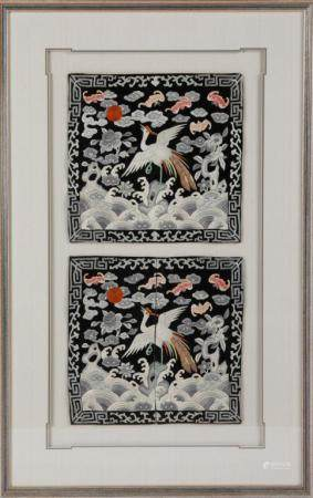 FRAMED CHINESE SILK EMBROIDERED RANK BADGES