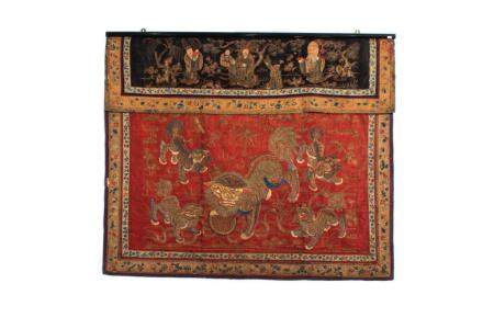 TWO CHINESE SILK EMBROIDERED FRONT COVERS