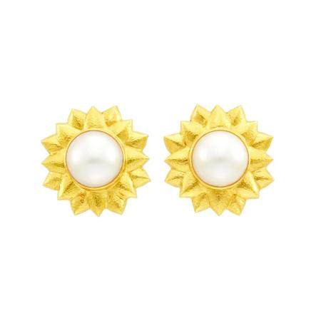 Elizabeth Locke Pair of Hammered Gold and Mabé Pearl Flower