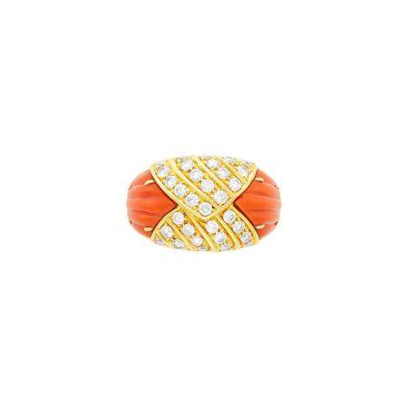 Van Cleef & Arpels Gold, Diamond and Fluted Coral Ring
