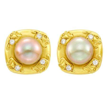 Pair of Gold, Tahitian Gray Cultured Pearl and Diamond Earcl
