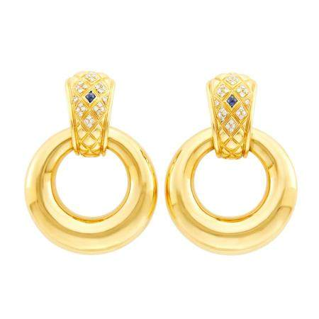 Chaumet Paris Pair of Gold, Diamond and Cabochon Sapphire Do