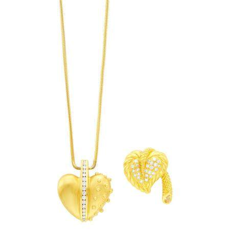 Judith Ripka Gold and Diamond Heart Pendant with Chain Neckl