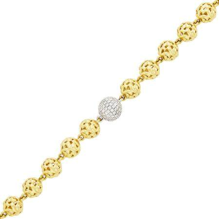 Two Color Gold and Diamond Ball Toggle Bracelet