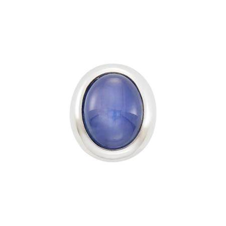 Gentleman's White Gold and Star Sapphire Gypsy Ring