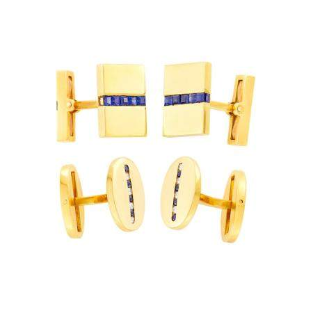 Cartier Pair of Gold, Diamond and Sapphire Cufflinks and Gol