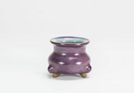 Yuan/Ming-A Junyao Purple and Blue Glazed Tri-Pod Censer