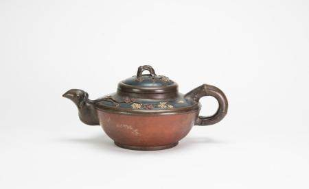 Late Qing/Republic-A Large Zisha Tea Pot Carved (Pine,Bamboo