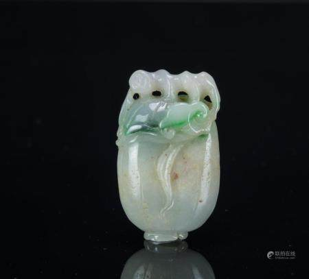 Qing- A Green Jadeite Carved 'Ruyi Cabbage'