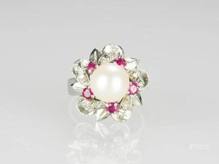 A Pearl With Ruby Mounted in White Gold Ring
