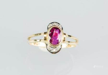 A Ruby Mounted With Diamond and 14k Gold Ring
