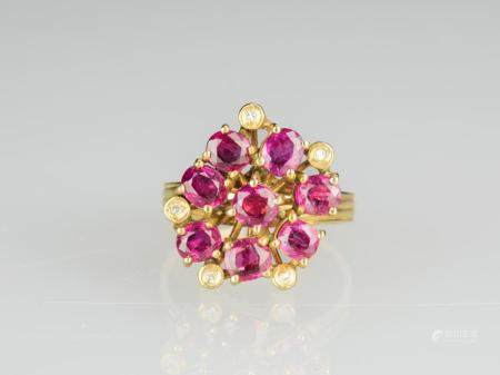 A Ruby Mounted With Diamond Gold Ring