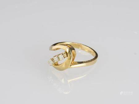 A Three Diamond With 14K Gold Ring