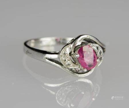 A Ruby and Diamond Mounted White Gold Ring Ring Size: 6