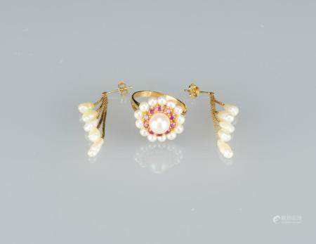 A Set Of Pearl Earring And Pearl Ring