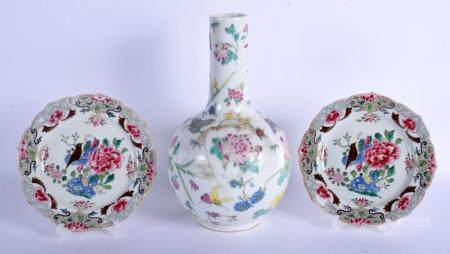A CHINESE REPUBLICAN PERIOD FAMILLE ROSE PORCELAIN VASE toge