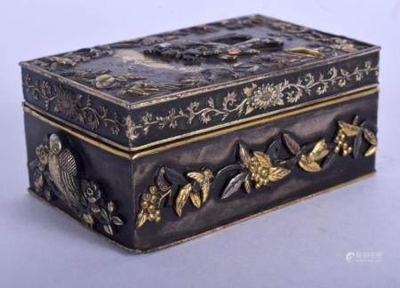 A 19TH CENTURY JAPANESE MEIJI PERIOD GOLD ONLAID RECTANGULAR