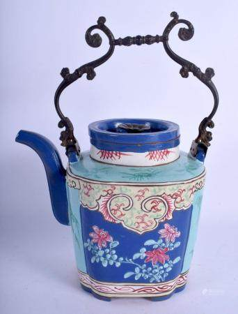 A VERY RARE EARLY 19TH CENTURY CHINESE ENAMELLED YIXING TEAP