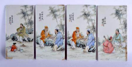 A SET OF FOUR CHINESE PORCELAIN FAMILLE ROSE PANELS Republic