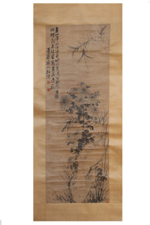 A CHINESE FLOWER PAINTING SCROLL, XU WEI MARK