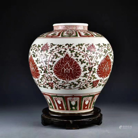A CHINESE RED-AND-GREEN-GLAZED JAR