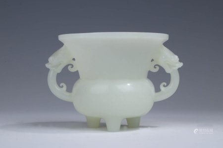 A CHINESE WHITE JADE CARVED DOUBLE EARS INCENSE BURNER