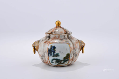 A CHINESE FAMILLE ROSE PORCELAIN JAR WITH COVER