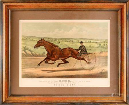 "CURRIER & IVES LITHOGRAPH ""THE QUEEN OF THE TURF MAUD S, DRI"