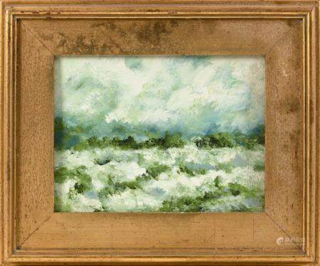 PAINTING OF A GREEN LANDSCAPE Unsigned. Oil on canvas board,