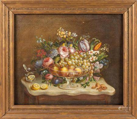 AMERICAN SCHOOL, Late 19th Century, Tabletop still life., Oi