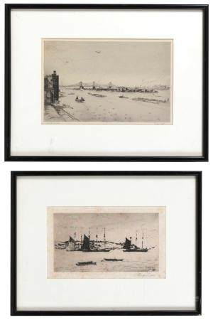 TWO ETCHINGS 1) Boats off the shore by Philip Little (Massac