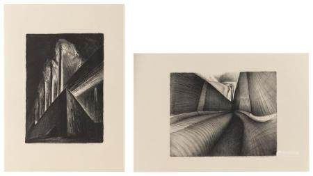 RICHARD C. HARDEN, America, b. 1956, Two lithographs on pape