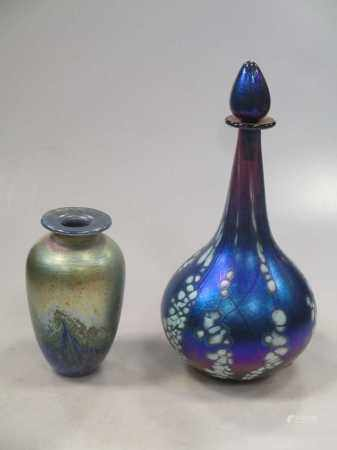 A Siddy Langley glass bottle and stopper together with another iridescent glass vase (indistinctly