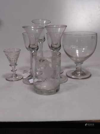 Small assortment of antique glasses including two opaque twist, some with slight damage (8)