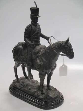 After John Rattenbury Skeaping, a modern reproduction bronze study of a mounted cavalry officer,