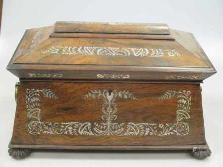 An early 19th century mahogany slope top knife box converted for stationary, together with a William