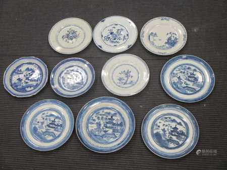 A collection of ten 19th century Chinese Export blue & white plates (10)