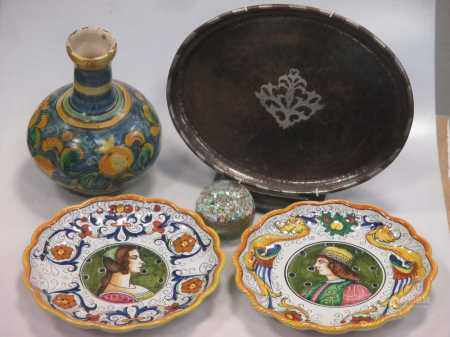 Pottery including a Della Robbia bowl (damaged) a Hugh Wallis copper and silver inlaid oval tray,