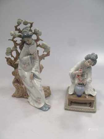 Two Lladro figures of a Japanese lady