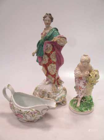 Three Derby figures (with damages and restoration) and an 18th century sauce boat (4)