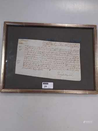 A legal surrender agreement, Benson family, held at a Court Baron in March 1656, framed